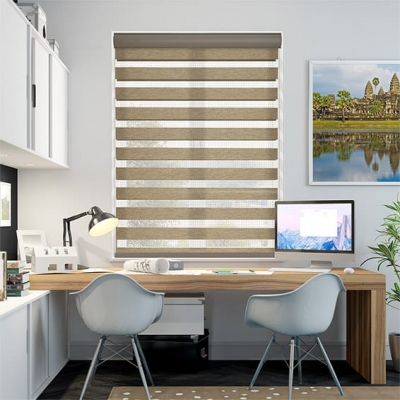 Winstar Honey Oak Zebra Roller Blind