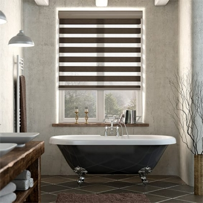 Winstar Dark Wood Zebra Roller Blind
