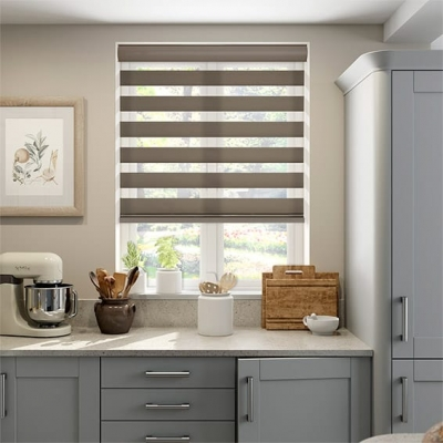 Winstar Dimout Taupe Zebra Roller Blind